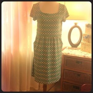 Charter Club jersey print dress with pockets XL